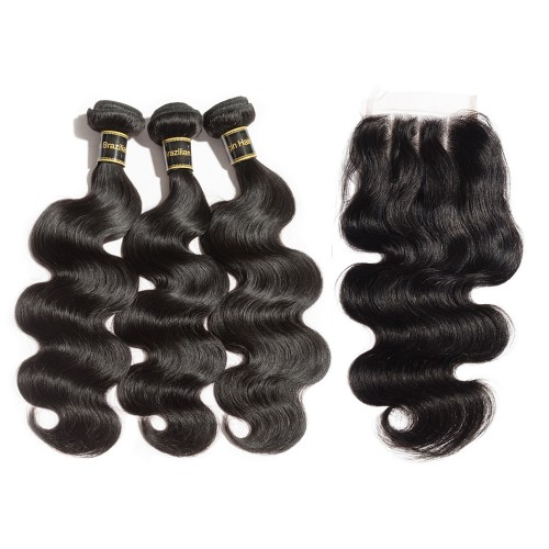 3 Bundles Body Wavy Brazilian Virgin Hair 300g With Three Part 4*4 Lace Frontal