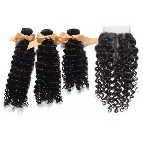 3 Bundles Deep Curly Brazilian Virgin Hair 300g With 4*4 Deep Curly Middle Part Lace Closure