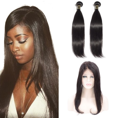 13*6 CC Lace Frontal with 2 Bundles Straight 6A Brazilian Virgin Hair