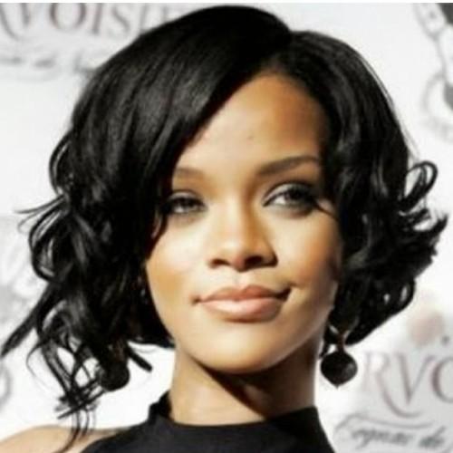 """12"""" Rihanna #1B Natural Black Curly Wig-PWC78"""