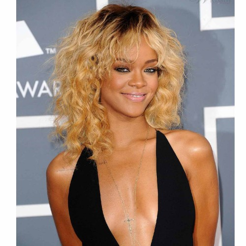 Rihanna Short Curly Full Lace Human Hair Wig CW163