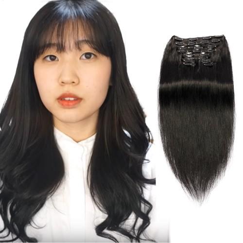120g 18 Inch #1 Jet Black Straight Clip In Hair