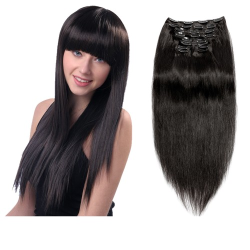 160g 20 Inch #1B Natural Black Straight Clip In Hair