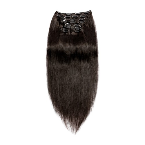 220g 24 Inch #1B Natural Black Straight Clip In Hair