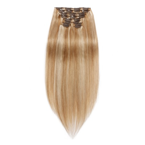 220g 24 Inch #27/613 Straight Clip In Hair