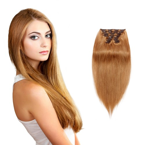 160g 20 Inch #27 Strawberry Blonde Straight Clip In Hair