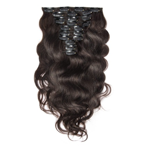 220g 24 Inch #2 Darkest Brown Body Wavy Clip In Hair