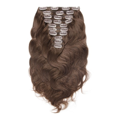 220g 24 Inch #4 Chocolate Brown Body Wavy Clip In Hair