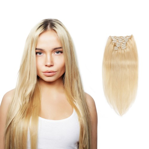 200g 22 Inch #60 Platium Blonde Straight Clip In Hair