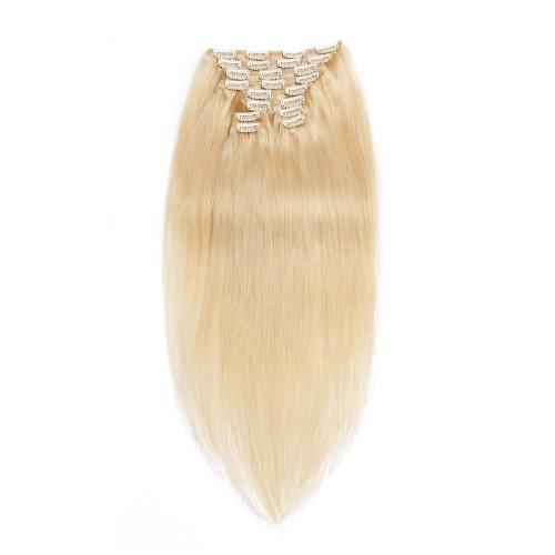 220g 24 Inch #60 Platium Blonde Straight Clip In Hair