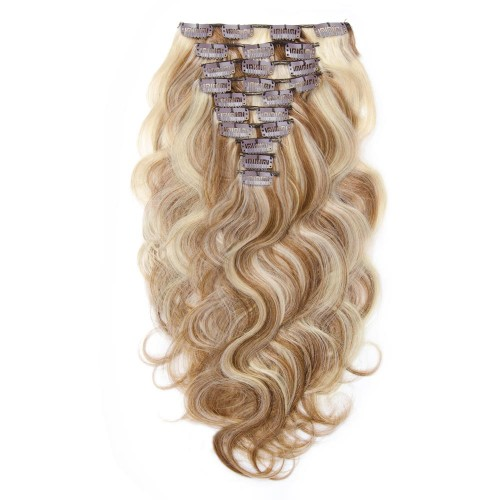 220g 24 Inch #8/613 Body Wavy Clip In Hair