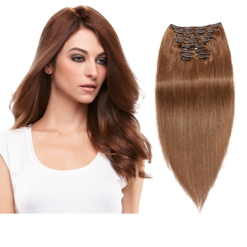 160g 20 Inch #8 Light Brown Straight Clip In Hair