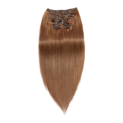 220g 24 Inch #8 Light Brown Straight Clip In Hair