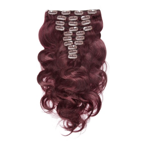120g 18 Inch #99J Boday Wavy Clip In Hair