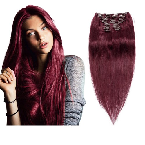 160g 20 Inch #99J Straight Clip In Hair