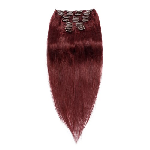 200g 22 Inch #99J Straight Clip In Hair