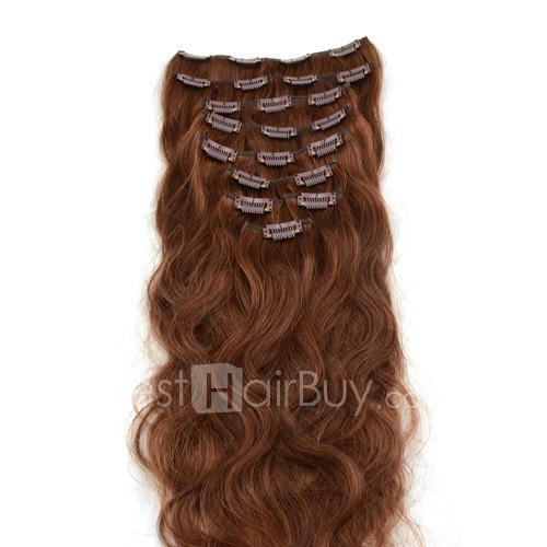 10pcs Body Wavy Clip In Remy Hair Extensions #33 Rich Copper Red