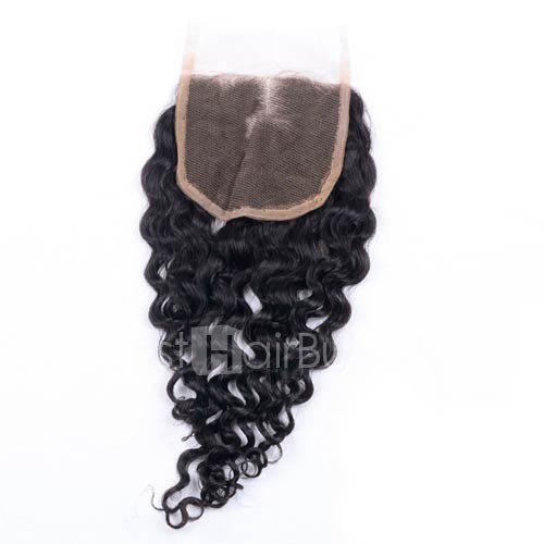 10-20 Inch Virgin Brazlian Hair Deep Curly 4*4 Middle Part Lace Top Closure