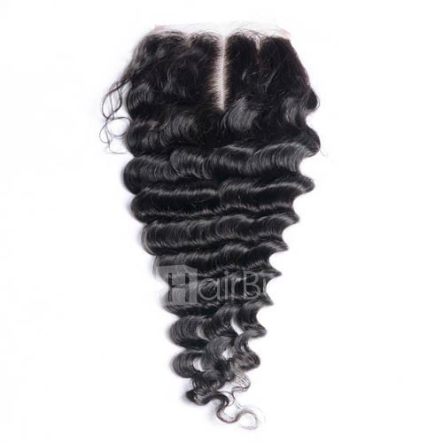 10-20 Inch Virgin Brazlian Hair Deep Curly 4*4 Hand Tied Free Part Lace Top Closure