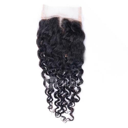 10-20 Inch Virgin Brazlian Hair Deep Curly 4*4 Hand Tied Middle Part Lace Top Closure