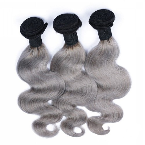 #1B/Grey Ombre Hair Weave 3 Bundles Body Wavy