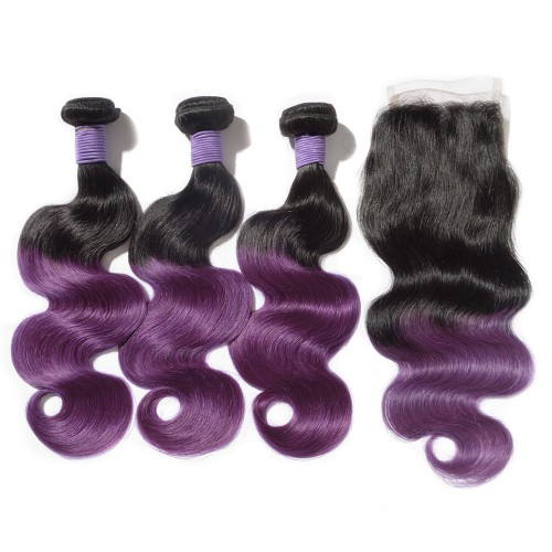 #1B/Purple Ombre Hair Closure 1pcs With Brazilian Hair Weave 3pcs Body Wavy