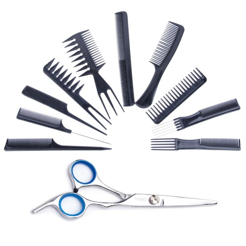 10PCS Black Salon Hair Comb Set Kit with Salon Scissors HT15