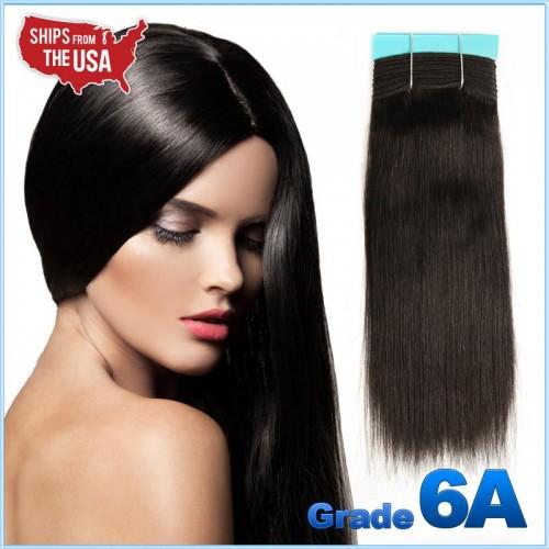 [Grade 6A] #1B (Natural Black) - Yaki Weaving / 100% Remy Human Hair Straight