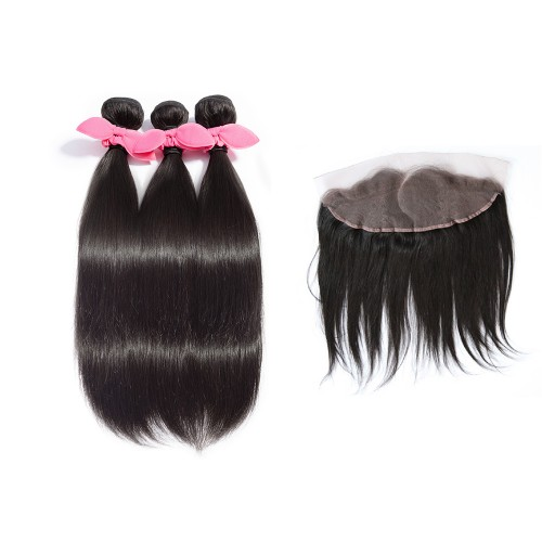3 Bundles Straight Brazilian Virgin Hair 300g With Pre Plucked C Part 13x4 Lace Frontal