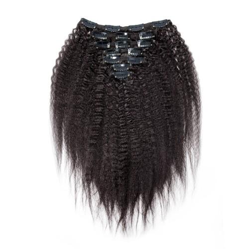 7pcs Kinky Straight Virgin Brazilian Clip in Hair #1B Natural Black