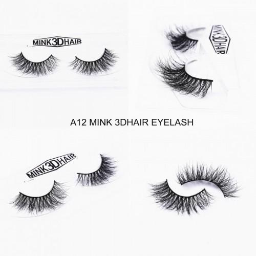 1Pair Luxury 3D Mink Fur False Eyelashes Extensions A12