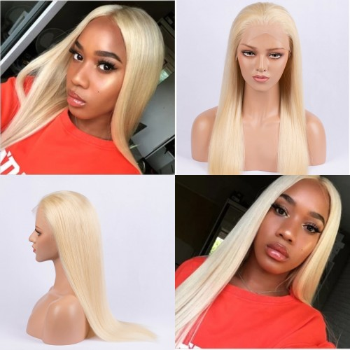 #613 Blonde Straight Brazilian Virgin Hair Lace Front Wigs With Baby Hair