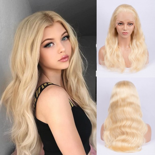 #613 Blonde Body Wavy Brazilian Virgin Hair Lace Front Wigs With Baby Hair
