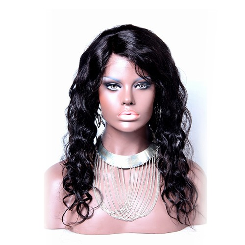 18 Inch Natural Color Indian Remy Hair Body Wavy Front Lace Wigs PWFU01