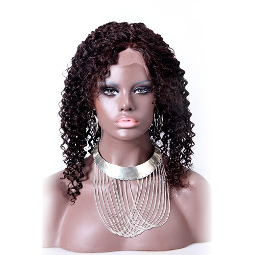 16 Inch #4 Indian Remy Hair Kinky Curly Front Lace Wigs PWFU06