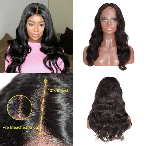 """Pre Bleached Knots 13""""x 6"""" Indian Human Hair Body Wavy Lace Front Wigs"""
