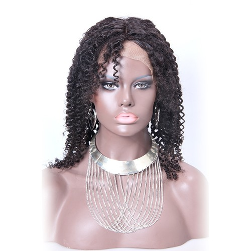 16 Inch #2 Indian Remy Hair Kinky Curly Front Lace Wigs PWFU11