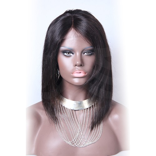 12 Inch #4 Indian Remy Hair Straight Front Lace Wigs PWFU12