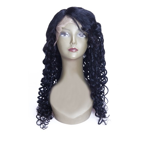 28 Inch #1 Indian Remy Hair Curly Front Lace Wigs PWFU19