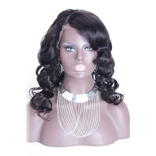 18 Inch #1B Indian Remy Hair Body Wavy Front Lace Wigs PWFU23