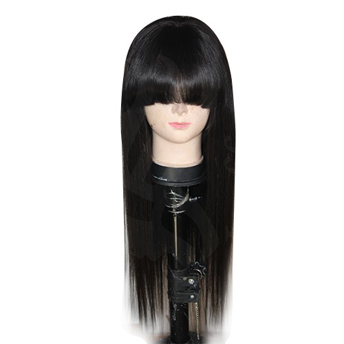 20 Inch Natural Color Indian Remy Hair Straight Front Lace Wigs PWFU28