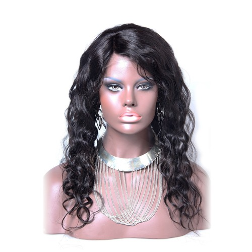 18 Inch Natural Color Indian Remy Hair Body Wavy Front Lace Wigs PWFU35