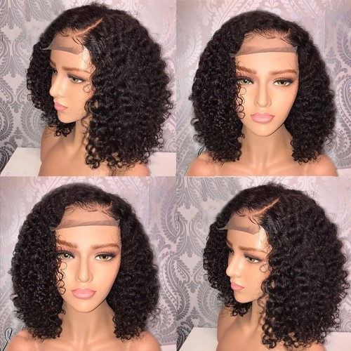 Pre-Plucked Brazilian Virgin Hair Deep Curly Bob Wigs