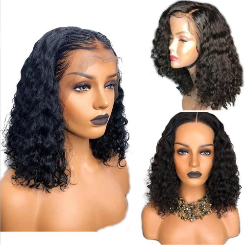 Pre-Plucked 250% Density Italian Curly Human Hair Deep Part 13x6 Lace Front Wigs