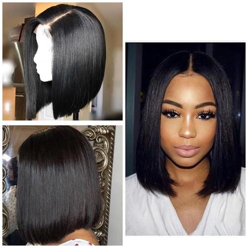 Pre-Plucked Brazilian Virgin Hair Lace Front Bob Wigs