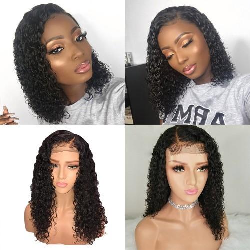 USA Stock Pre-Plucked Brazilian Virgin Hair Lace Front Water Wavy Bob Wigs