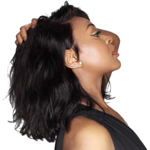 USA Stock Pre-Plucked Brazilian Virgin Hair Lace Front Body Wavy Bob Wigs