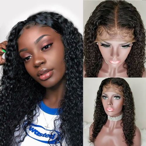 USA Stock Pre-Plucked Middle Part Water Wavy Brazilian Virgin Hair Lace Front Wigs