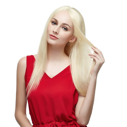 "18"" #60 Platium Blonde Brazilian Virgin Straight Full Lace Wig"