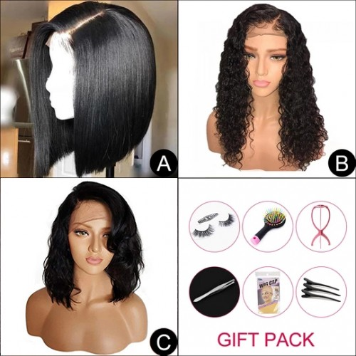 """Virgin Hair Bob Wigs 3-IN-1 (A)10""""+(B)10""""+(C)10"""" With Free Gift"""